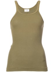 Re Done Ribbed Tank Top Green