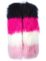 Msgm Three Tone Striped Gilet Pink And Purple