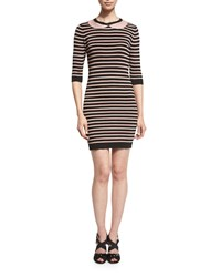 Red Valentino Peter Pan Collar Striped Sheath Dress Nero Nudo Women's