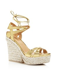 Sergio Rossi Bilbao Lace Up Platform Wedge Sandals Gold