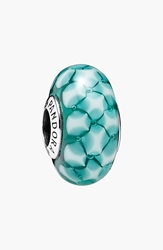 Pandora Design 'Teal Lattice' Murano Glass Bead Charm Sterling Silver Teal