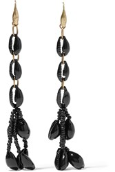 Isabel Marant Gold Tone Shell And Ceramic Bead Earrings Black