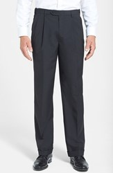 Men's Big And Tall Berle Self Sizer Waist Pleated Wool Gabardine Trousers Black