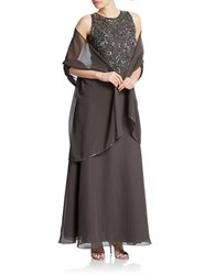 J Kara Beaded Gown Slate