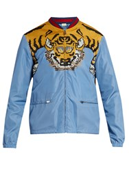 Gucci Tiger Print Nylon Bomber Jacket Light Blue