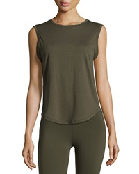 Solow Curved Hem Crewneck Tank Army