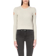 Allsaints Ria Knitted Cropped Jumper Mist Grey
