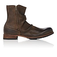 Shoto Men's Wrinkled Double Zip Boots Brown