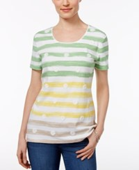 Karen Scott Floral Print Striped Top Only At Macy's Bright White