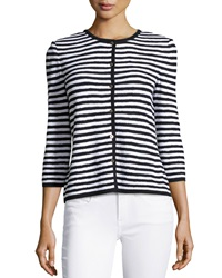 St. John Striped 3 4 Sleeve Cardigan Black Bright White