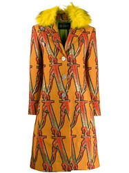 Versace Logo Embroidered Trimmed Coat 60