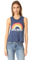 Spiritual Gangster Retro Rainbow Crop Tank Navy