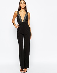 Aq Aq Aq Aq Level Plunge Neck Jumpsuit Black