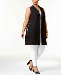 Love Scarlett Plus Size Open Grommet Vest Black
