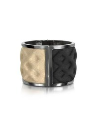 Avril Double Ruthenium Plated Brass And Black Gold Viscose Bangle