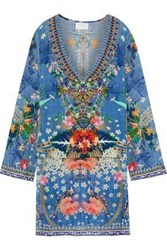 Camilla Woman Faraway Florals Layered Crystal Embellished Printed Silk Crepe De Chine Tunic Cobalt Blue