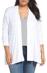 Sejour Plus Size Women's Slub Knit Open Front Cardigan White