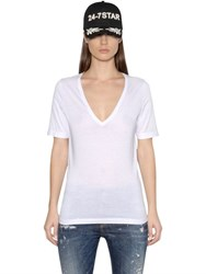 Dsquared V Neck Cotton Jersey T Shirt