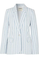 L'agence Scout Striped Linen And Cotton Blend Blazer Blue