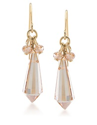 Carolee Peach Blossom Goldtone Faceted Glass Bead Earrings Champagne Gold