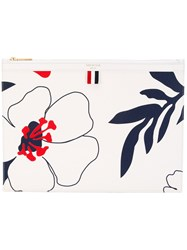 Thom Browne Floral Print Clutch White