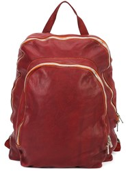 Guidi Double Zip Backpack Red