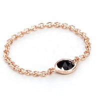 Grace Cayre Black Rose Chain Ring Gold