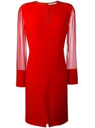 Givenchy Sheer Sleeve Dress Red