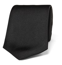 Turnbull And Asser 8Cm Ribbed Silk Tie Black