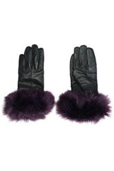 Surell Faux Fur Trimmed Leather Gloves Purple