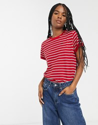 Lee Stripe Logo T Shirt Red