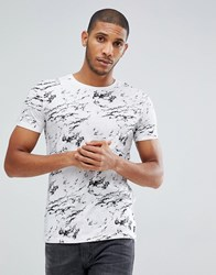 Tom Tailor T Shirt With Marble Print 2000 White