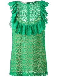 Stella Mccartney Flounce Sleeveless Blouse Green