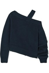 Rta Beckett Asymmetric Off The Shoulder Cotton Sweater Navy