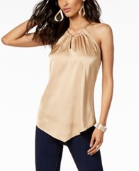 Thalia Sodi Chain Neck Halter Top Created For Macy's Dusted Gold