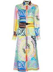 Versace Long Sleeve Patterned Belted Silk Shirt Dress A7000 Multi Color