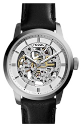 Fossil 'Townsman' Automatic Leather Strap Watch 40Mm Black Silver