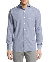 Loro Piana Alain S Gingham Silk Cotton Pocket Shirt White Blue