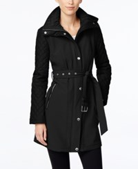 Michael Kors Petite Faux Leather Trim Quilted Sleeve Jacket Black