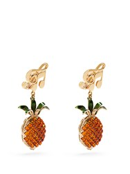 Dolce And Gabbana Pineapple Crystal Embellished Clip On Earrings Orange