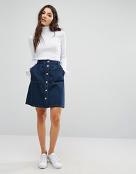Only Denim Skirt With Button Front Blue