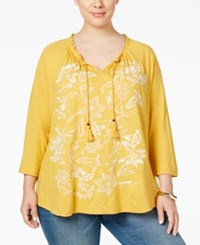 Styleandco. Style Co. Plus Size Embroidered Peasant Top Only At Macy's Floral Honey