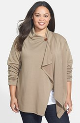 Plus Size Women's Bobeau One Button Fleece Cardigan Mink