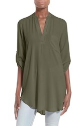 Lush Women's Perfect'roll Tab Sleeve Tunic New Olive