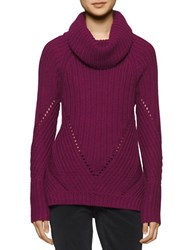 Calvin Klein Jeans Chunky Ribbed Funnelneck Sweater Plum Cherry