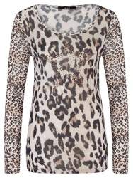 Oui Leopard Print Top White Brown