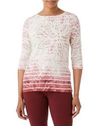 Olsen Pano Print Cotton Tee Red Cassis
