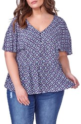 Addition Elle Love And Legend Plus Size Women's Ruffle V Neck Blouse