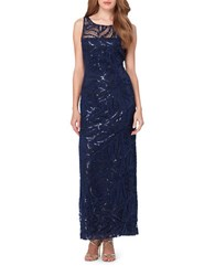 Tahari By Arthur S. Levine Novelty Lace Sleeveless Sequined Column Gown Navy