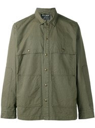 Filson Chest Pockets Shirt Jacket Men Cotton Polyester M Green